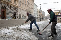 Snow covers the streets of Rome, Italy. Via Nazionale. Royalty Free Stock Photos
