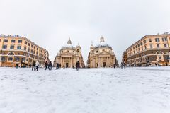 Rome with snow, Piazza square del Popolo. Italy. Royalty Free Stock Photography
