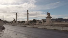 A look at the monumental Flaminio bridge in Rome on a rainy winter day