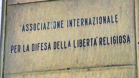 International Association for the Defense of Religious Freedom. Rome, Italy - February 15, 2019: Italian Associazione Internazionale per la difesa della libert royalty free stock images