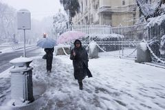 Snow in Rome Royalty Free Stock Photography