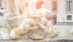 Rome, Italy - February 16, 2015: Rome Navona Square, famous turist landmark. ity square in Rome. Neptune Fountain royalty free stock photo