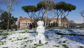 Snowman in Rome Royalty Free Stock Photo