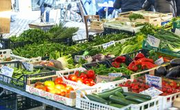 Vegetables stall in historical Campo De fiori Market Royalty Free Stock Images