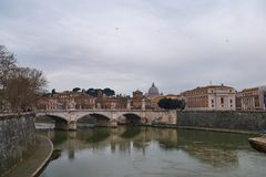 View from Tiber River to St. Peter`s Basilica in Vatican. Rome, Italy Royalty Free Stock Photography