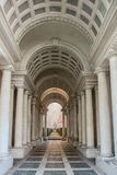 The gallery by Borromini. AT ROME , ITALY , ON 01/06/2018 - Forced perspective gallery by Francesco Borromini in Palazzo Spada. The corridor is much shorter, and Royalty Free Stock Images