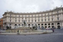 The Fountain of the Naiads on Piazza della Repubblica in Rome. Rome Italy The fountain in this square was originally the fountain of the Acqua Pia connected to Royalty Free Stock Photo