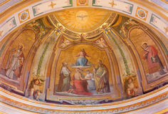 ROME, ITALY: Fresco Christ in Glory in the church Chiesa dis San Bartolomeo all'Isola by capuchins painter Bonaventura Loffre Royalty Free Stock Photos