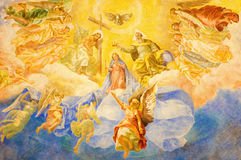 ROME, ITALY, 2016: The fresco Coronation of Our Lady (1957-1965) in church Basilica di Santa Maria Ausiliatrice Stock Images