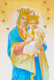 ROME, ITALY: Fresco of Madonna on the main altar from begin of 20. cent. in the church Chiesa di Nostra Signora del Sacro Cuore. Royalty Free Stock Photo