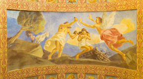 ROME, ITALY: Fresco The Sacrifice of Isaac in church Basilica di Santa Maria Ausiliatrice by the Salesian Don Giuseppe Melle. ROME, ITALY - MARCH 10, 2016: The Stock Photography