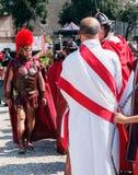 Rome/Italy/04/22/2018-Rome fundamentårsdag, militärt komma Fotografering för Bildbyråer