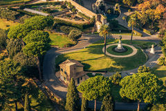 Rome, Italy: Gardens of Vatican City State. Vatican City State and Rome, Italy: Aerial View of The Vatican Gardens Royalty Free Stock Photos
