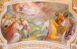 ROME, ITALY: God's Covenant with Noah in the Rainbow.  Fresco from vault of stairs in church Chiesa di San Lorenzo Royalty Free Stock Images