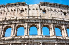 ROME, Italy: Great Roman Colosseum Coliseum, Colosseo also known as the Flavian Amphitheatre. Famous world landmark. Detail of t stock image