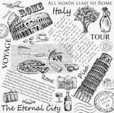 Rome italy hand drawn Stock Images