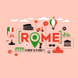 Rome Italy icons and typography design Stock Photo