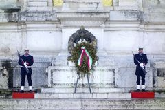 Soldiers guards at Altar of the Fatherland Stock Photos