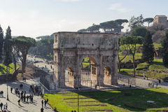 ROME, ITALY - JANUARY 21, 2010: Arch of Constantine. Is a triumphal arch in Rome near the colosseum and it is the lastest one of existing triumphal arches in Stock Image