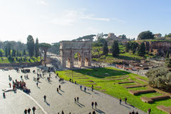 ROME, ITALY - JANUARY 21, 2010: Arch of Constantine. Is a triumphal arch in Rome near the colosseum and it is the lastest one of existing triumphal arches in Royalty Free Stock Photo