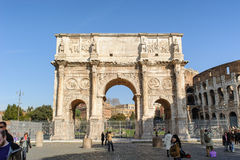 ROME, ITALY - JANUARY 21, 2010: Arch of Constantine. Is a triumphal arch in Rome near the colosseum and it is the lastest one of existing triumphal arches in Royalty Free Stock Image