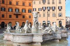ROME, ITALY - JANUARY 27, 2010: Fontana del Nettuno. (Fountain of Neptune) is a Roman fountain situated at the northern end of Piazza Navona in Rome, Italy stock images