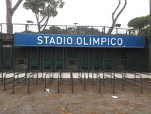 Stadio Olimpico signage in Rome, Italy. Rome, Italy - January 7, 2017: Stadio Olimpico signage. The Stadio Olimpico is the main and largest sports facility of Stock Photography
