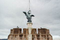 ROME, ITALY - JANUARY 27, 2010: statue of Michael the Archangel Stock Photos