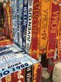 Fake scarves of Italian football teams royalty free stock photography