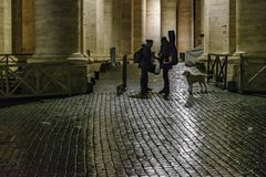 Cobblestone Street Night Scene, Rome