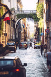 ROME, ITALY - JULY 14 2016: Beautiful street view with toutists, Royalty Free Stock Images
