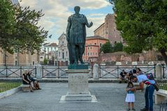 Bronze monumental statue of the Caesar in Rome royalty free stock photography