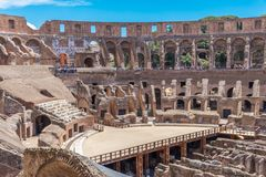 The Colosseum or Flavian Amphitheatre is a large ellipsoid arena built in the first century stock photos