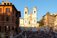 The famous Spanish Steps at Piazza di Spagna in central Rome at sunset Royalty Free Stock Photos