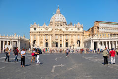 The Papal Basilica of Saint Peter and Saint Peter`s Square at the Vatican. ROME,ITALY - JULY 21,2017 : The Papal Basilica of Saint Peter and Saint Peter`s Square stock photo