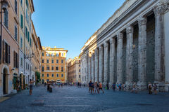 Piazza de Petra and the Hadrian Temple in Central Rome Stock Photography