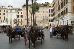 Rome, Italy, July 29,2014:Piazza di Spagna. Horse drawn carriages and drivers waiting for tourist patronage at the foot of the Spanish Steps Royalty Free Stock Photography
