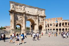 Ruins of the Colosseum and the Arch of Constantine in Rome Stock Photos