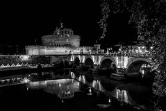 Rome, Italy - July 10, 2017: Sant Angelo Castle and bridge Royalty Free Stock Images