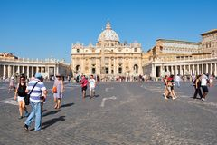 St Peter's Square and Basilica at the Vatican City in Rome royalty free stock photography