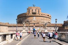 Ponte Sant Angelo in Rome with the imposing Castel Sant Angelo on the background Stock Photography