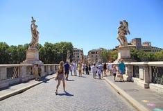 Tourists at Saint Angel Bridge Ponte Sant`Angelo, Rome, Italy. ROME, ITALY - JULY 16, 2017: Tourists at Saint Angel Bridge Ponte Sant`Angelo, Rome, Italy stock image