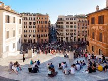 Tourists sit on spanish steps Rome Italy Stock Images