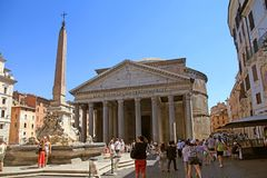Tourists visit the Pantheon, Rome, Italy. Royalty Free Stock Photography
