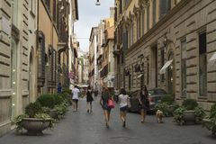 Rome, Italy, July 29,2014:Via bocca Di Leone. Walking the street of Rome, Via Bocca Di Leone in summer Royalty Free Stock Images