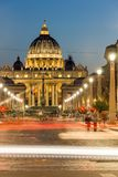 Amazing Night photo of Vatican and St. Peter`s Basilica in Rome, Italy. ROME, ITALY - JUNE 22, 2017: Amazing Night photo of Vatican and St. Peter`s Basilica in Royalty Free Stock Images