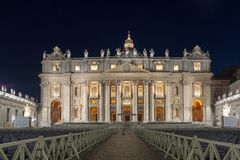 Amazing Night photo of Vatican and St. Peter`s Basilica in Rome, Italy. ROME, ITALY - JUNE 22, 2017: Amazing Night photo of Vatican and St. Peter`s Basilica in Stock Images