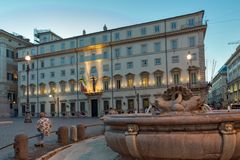 Amazing Sunset view of Palazzo Chigi in city of Rome, Italy. ROME, ITALY - JUNE 23, 2017: Amazing Sunset view of Palazzo Chigi in city of Rome, Italy Royalty Free Stock Photo