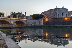 Amazing Sunset view of Tiber River in city of Rome, Italy Stock Photo