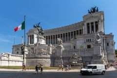 Amazing view of Altar of the Fatherland- Altare della Patria, known as the national Monument to Victo. ROME, ITALY - JUNE 23, 2017: Amazing view of Altar of the Royalty Free Stock Photography